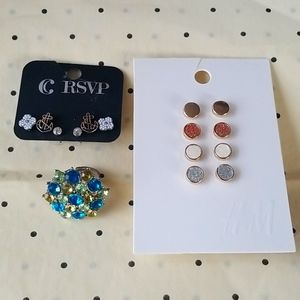Post earrings sets and rhinestone ring
